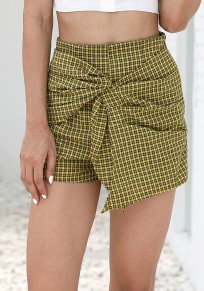 Black Plaid Irregular High Waisted Sweet Going out Shorts