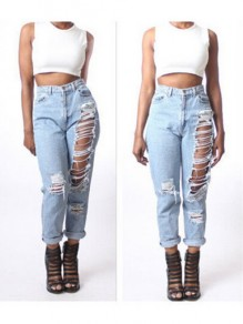 Light Blue Cut Out Pockets Zipper High Waisted Fashion Long Jeans Pant