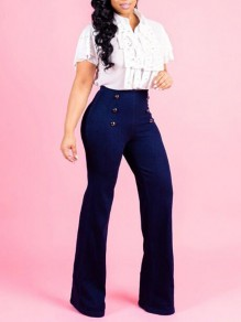 Blue Double Breasted High Waisted Mom Flare Bell Bottom Boyfriend Long Jeans