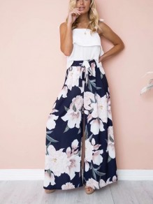 Dark Blue Floral Sashes High Waisted Casual Wide Leg Long Pants