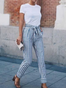 Blue Striped Print Sashes Pockets High Waisted Fashion Long Pants