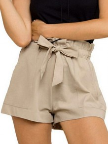 Apricot Pockets Belt Ruffle Elastic Waist Fashion Shorts