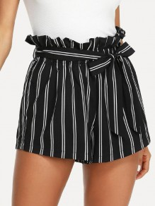 Black Striped Belt Ruffle High Waisted Casual Short Pant
