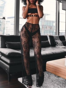 Black Floral Lace Sheer High Waisted Beachwear Cover Up Bohemian Long Pants
