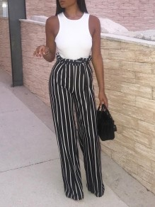 Black Striped Sashes Bow High Waisted Party Wide Leg Long Jumpsuit