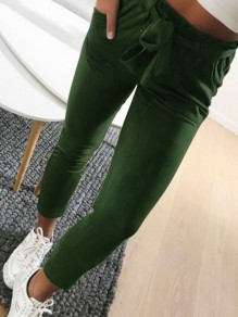 Green Drawstring Pockets Casual Nine's Pants