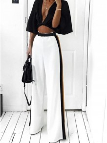 White Striped High Waisted Wide Leg Elegant Casual Pants