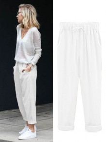 Pantalon poches à cordon occasionnel 7/8 blanc