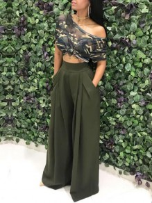 Army Green Pockets Pleated High Waisted Casual Wide Leg Long Pants