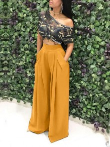 Yellow Pockets Pleated Palazzo Trousers High Waisted Wide Leg Elegant Long Pants