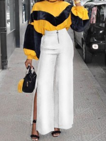 White Zipper Slit High Waisted Wide Leg Long Pants