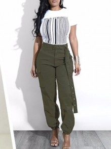 Green Belt Pockets High Waisted Drawstring Hippie Casual Pants