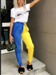 Blue-Yellow Patchwork Drawstring Pockets High Waisted Casual Streetwear Long Pants
