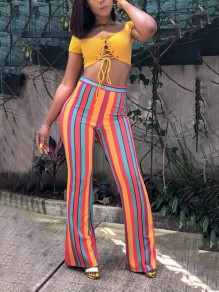 Red Striped Rainbow Print Party Casual Retro High Waisted Big Flare Bell Bottom Long Pants