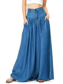 Blue Pockets Draped Plus Size High Waisted Casual Comfy Long Wide Leg Flare Pants