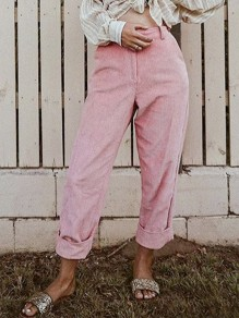 Pink Pockets Buttons High Waisted Straight Leg Mon Casual Corduroy Pant