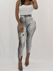 Silver Patchwork Sequin Elastic Waist High Waisted Bodycon Sparkly Clubwear Long Pants