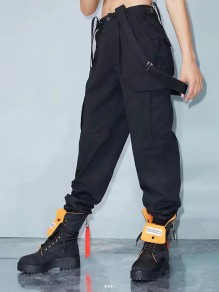 Black Pockets Belt Buttons Loose High Waisted Streetwear Fashion Long Cargo Overall Pants