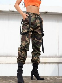 Army Green Camouflage Shoulder-Strap Pockets High Waisted Cargo Casual Overall Long Suspender Pants