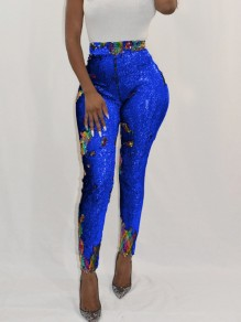 Royal Blue Patchwork Sequin Glitter Sparkly High Waisted Party Long Pant