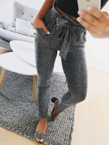 Grey Bow Bright Wire High Waisted Casual Sweet Going out Long Pant