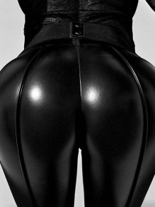 Schwarz Hohe Taille Schlank Lange PU-Leder Hosen Latex Push Up Po Leggings Damen Mode