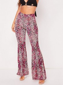 Rose Carmine Leopard Pattern Draped High Waisted Vintage Bell Bottom Flare Long Pants