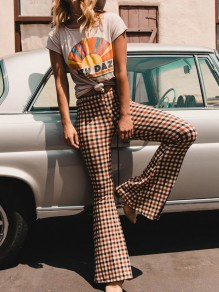 Yellow Plaid Side Slits Casual High Waisted Bell Bottomed Flares Long Pant