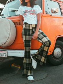 Green Plaid Side Slits Vintage Casual High Waisted Bell Bottomed Flares Long Pants