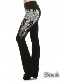 Black White Angel Wing Printed Bell Bottom Plus Size Casual Fashion Long Pants