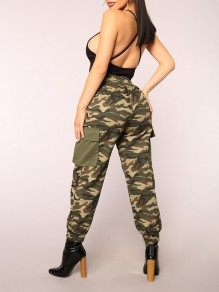 Army Green Patchwork Camouflage Pockets Drawstring High Waist Fatigue Cargo Pants