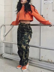 Green Camouflage Zipper Pockets High Waisted Casual Pant