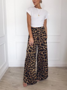 Leopard Print Pockets High Waisted Wide Leg Palazzo Casual Pants