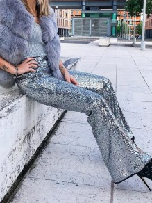 Silver Sequin Zipper Flare Bell Bottom Glitter Sparkly Fashion Long Pants