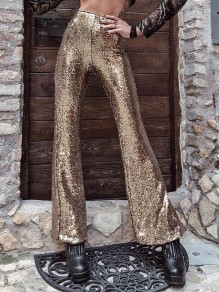 Champagne Golden Sequin Zipper Flare Bell Bottom Glitter Sparkly Fashion Long Pants