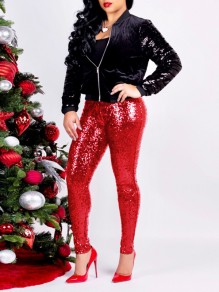 Red Sequin Elastic Waist Party Long Pants
