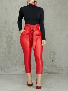 Red Pu Leather Ruffle Sashes Pockets High Waisted NYE Party Long Pants