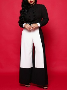 Black-White High Waisted Elegant Work Long Wide Leg Palazzo Pant