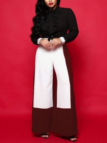 Red-White High Waisted Elegant Work Long Wide Leg Palazzo Pant