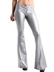 Silber Schnürung High Waisted Stretch Schlaghosen Bootcut Flared Hosen Damen Mode