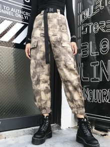 Grey Camouflage Pockets Belt High Waisted Fashion Long Pants