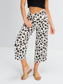 White Leopard Pockets High Waisted Fashion Pant