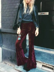 Burgundy Velvet Disco Party High Waisted Bell Bottomed Flares Long Pants