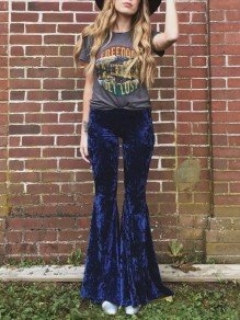 Navy Blue Velvet Disco Party High Waisted Bell Bottomed Flares Long Pants