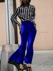 Sapphire Blue Velvet Disco Party High Waisted Bell Bottomed Flares Long Pants