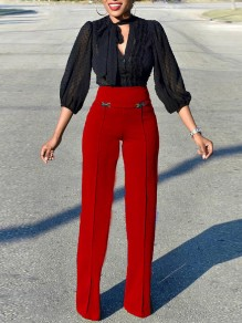 Red High Waisted Wide Leg Palazzo Elegant Vintage Long Pant