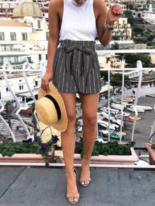 Black Striped Belt Pockets High Waisted Fashion Short Pant