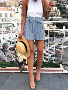 Blue Striped Belt Pockets High Waisted Fashion Short Pant
