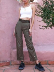 Army Green Pockets High Waisted Hippie Casual Cargo Long Pants