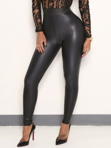 Black PU Leather Latex Bubble Vinly Patent Rubber Bodycon High Waisted Long Pant